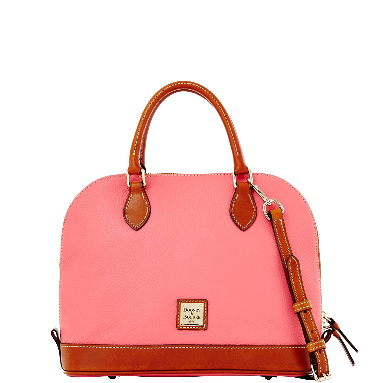 Dooney   Bourke Zip Zip Satchel Pebbled Leather Shoulder Bag Purse Handbag a08b4bbf56a86