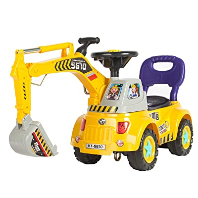 Best Choice Products Kids Excavator Construction Digger Ride On Truck w/ Gardener Set, Music, Lights, Storage - Yellow: Toys & Games