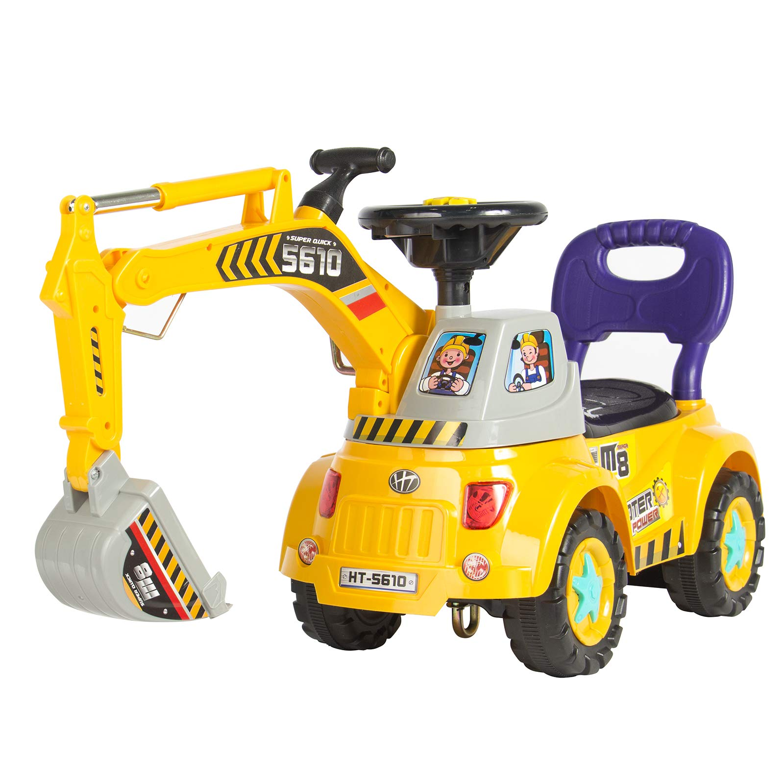 Best Choice Products Kids Excavator Construction Digger Ride-On Truck w/ Gardener Set, Music, Lights, Storage - Yellow