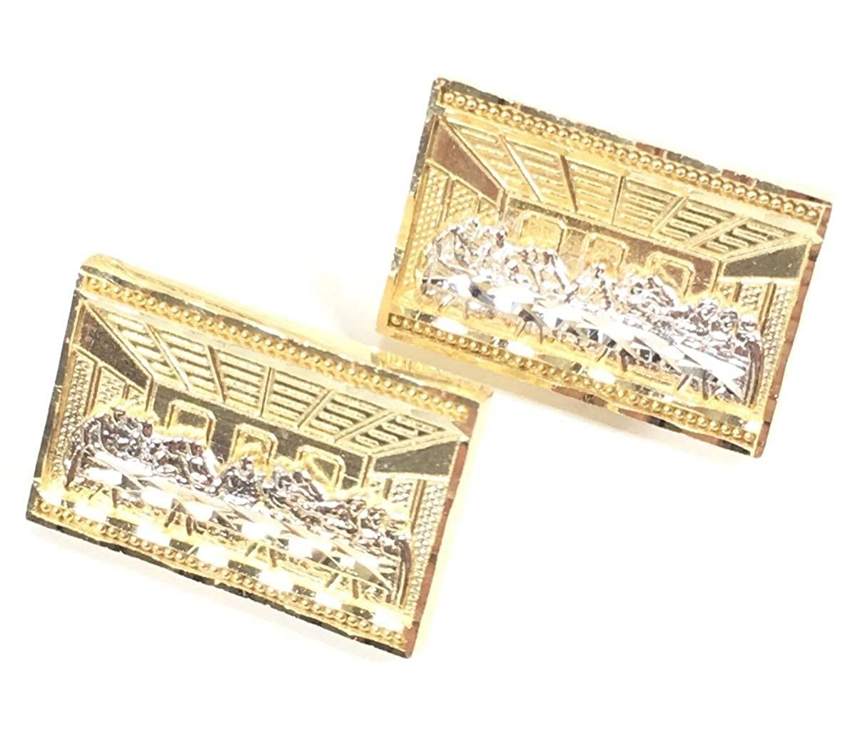 NEW 10K YELLOW GOLD 20 MM WIDE RECTANGLE LAST SUPPER STUD EARRINGS 6225