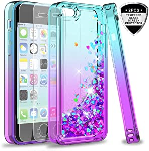 iPhone 5C Case with Tempered Glass Screen Protector for Girls Women,LeYi Cute Shiny Glitter Moving Quicksand Clear TPU Protective Phone Case Cover for Apple iPhone 5C ZX Teal/Purple