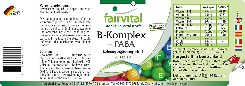 Vitamina B complex PABA - Áácido Para-Aminobenzoico - VEGANO - dosis alta - 90 Cápsulas - complejo de la vitamina B - ¡Calidad Alemana garantizada!: