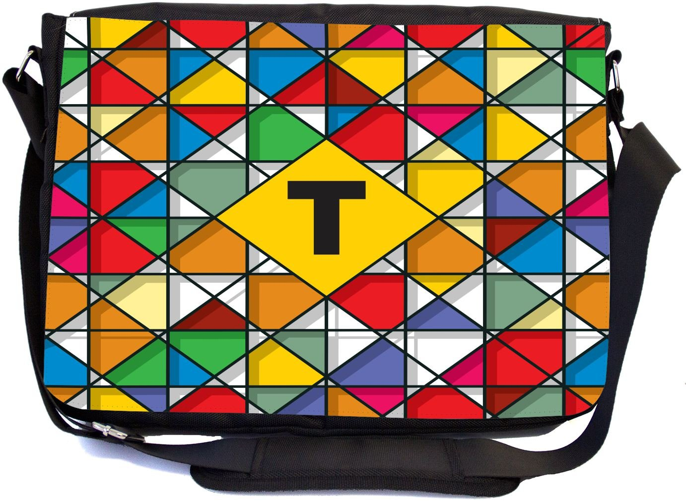 Rikki Knight Letter T Monogram Vibrant Colors Stained Glass Design Design Combo Multifunction Messenger Laptop Bag - with Padded Insert for School or Work - Includes Wristlet & Mirror