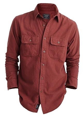 e8679d72 Abercrombie & Fitch Men's Chamois Shirt Button Down Shirt - Red - S ...