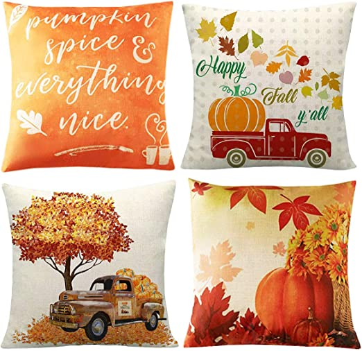 Thanksgiving Decorations Cotton Linen Throw Pillow Cover 18x18 inch Set of 4