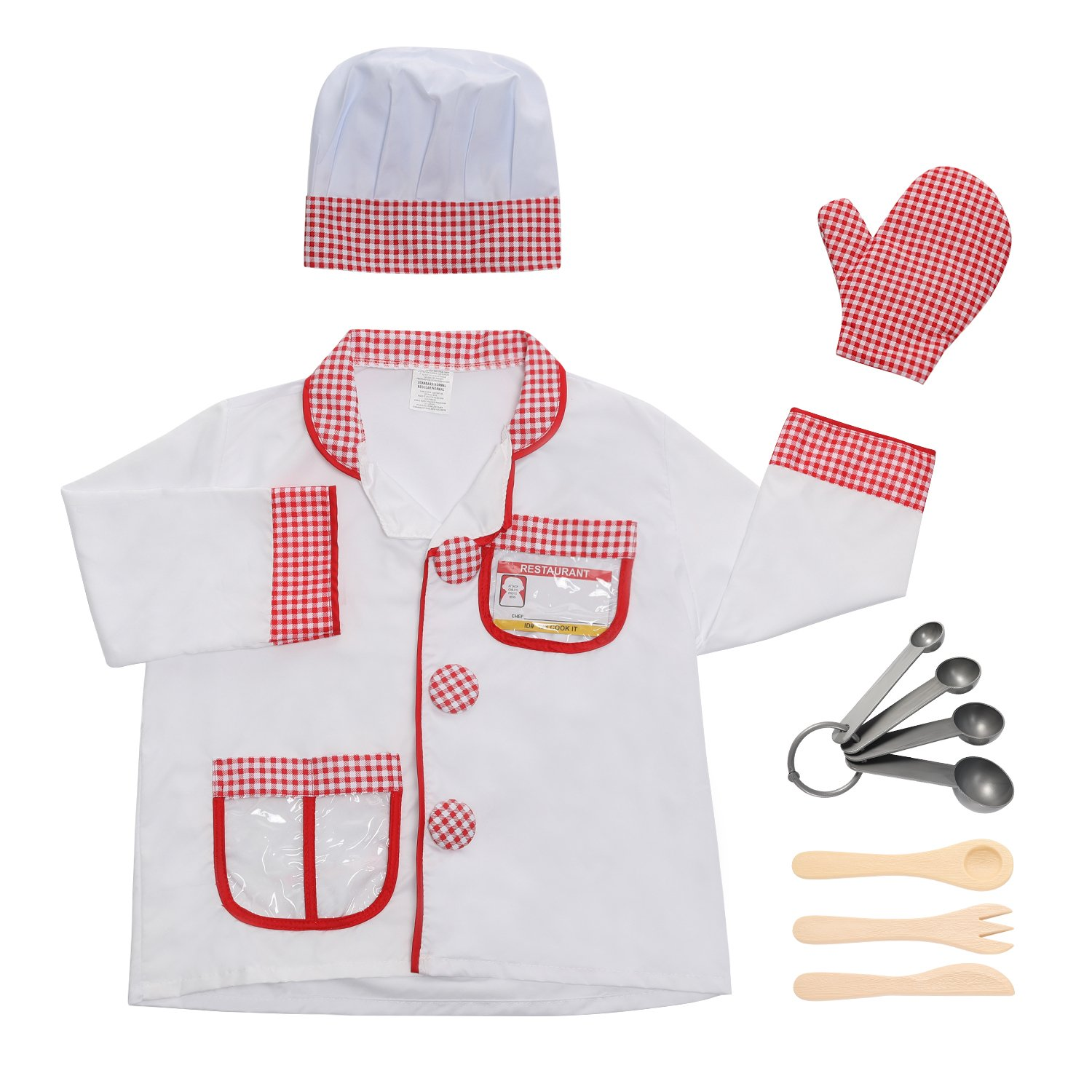 fd51527dd 8Pcs Kids Child Chef Role Play Costume Set Boys Girls Cooking Fancy ...
