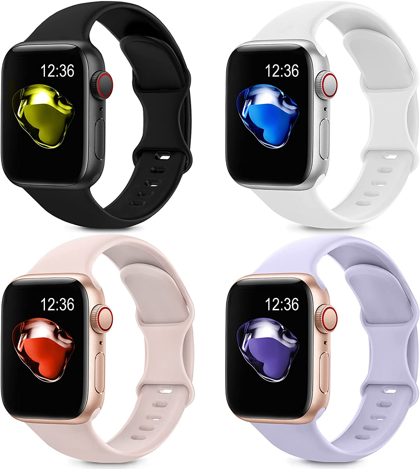 4 Pack Sport Silicone Bands Compatible with Apple Watch Bands 38mm 40mm Women Men, Soft Replacement Strap Band Compatible for iwatch Series 6 SE 5 4 3 2 1(38MM/40MM,Black+White+Pink+Purple)