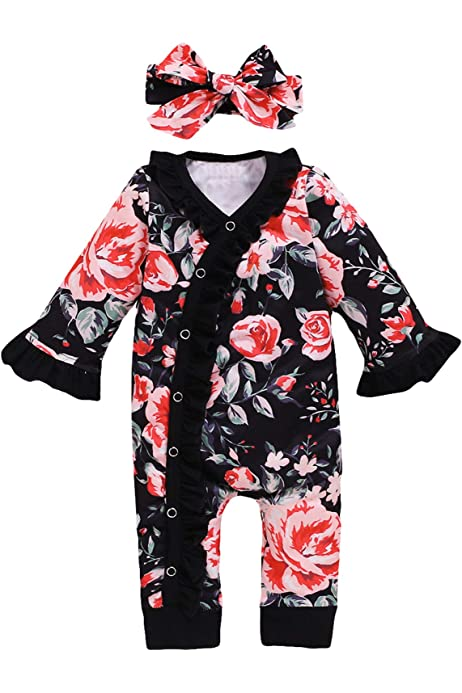 Girls Baby Toddler Floral Bow Pocket Zip Sleepsuit Romper Sizes from 12 to 36 Months