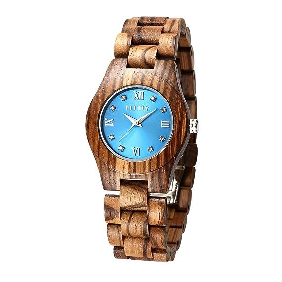 ... Amazon.es  Relojes. LEFTLY - Reloj de pulsera de madera para mujer 174f8db0d08e