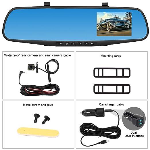 BaZhaHei Auto y Moto Accesorios 1080p HD Car Dash Camera Dual CAM Vehículo Delantero DVR Lens Video Recorder Espejo retrovisor V39 Que Conduce la grabadora ...