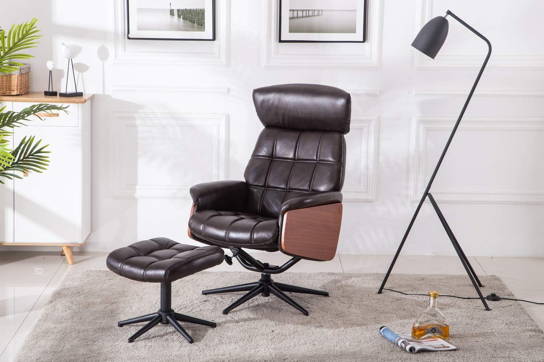 MCombo Relaxsessel Fernsehsessel TV Sessel kippbar Dreh mit Fußhocker Stahlfüßen