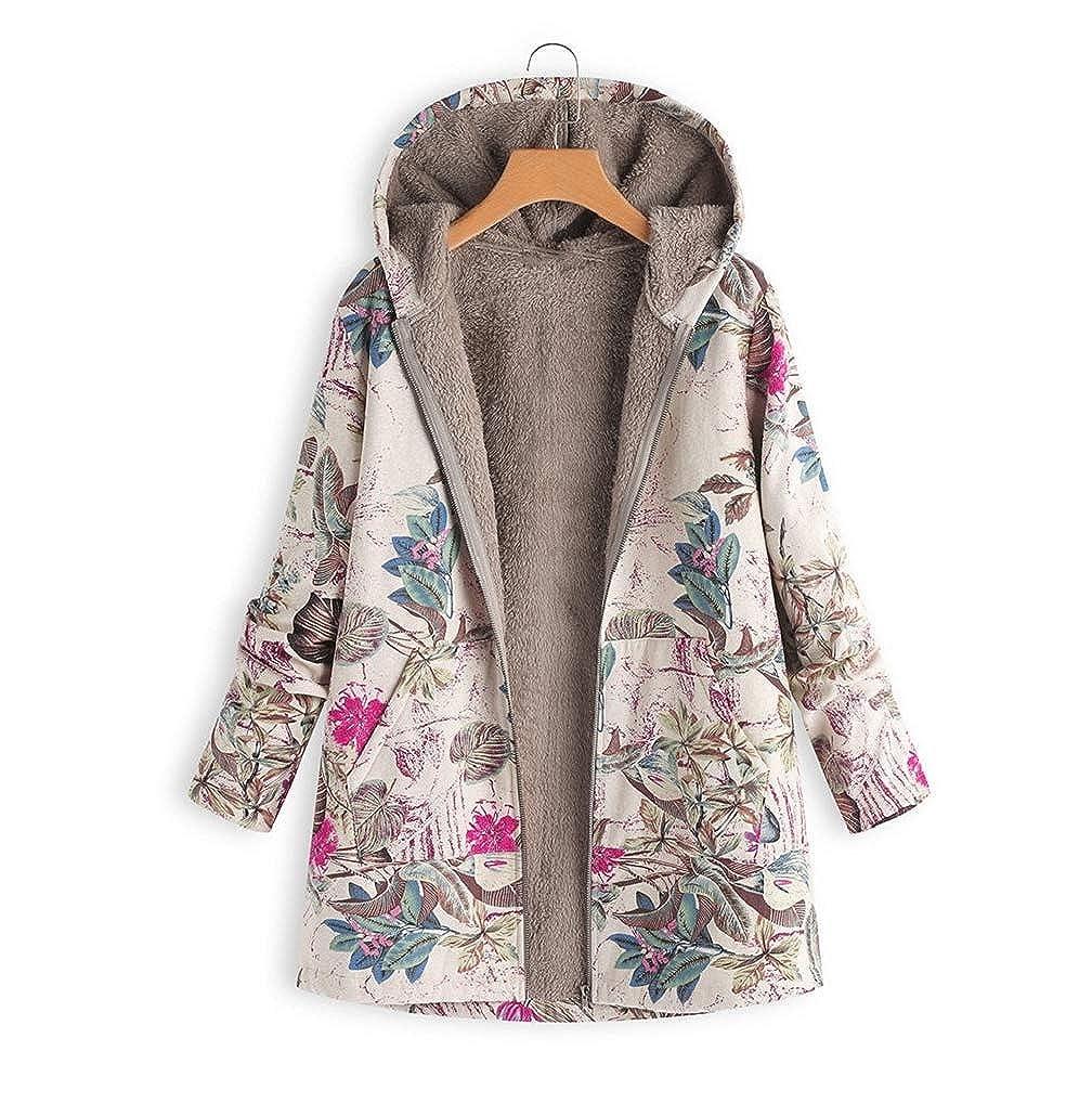 FNKDOR Manteau à Capuche Femmes Grande Taille Hiver Chaud Veste en Coton Lâche Poches Rétro Fleurs Impression Plus épais Hasp Outwear Pas Cher B-rose Vif