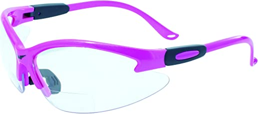 Global Vision Eyewear Cougar Bifocal Series Sunglasses with Dark Pink Nylon Frame and Clear Safety Lenses