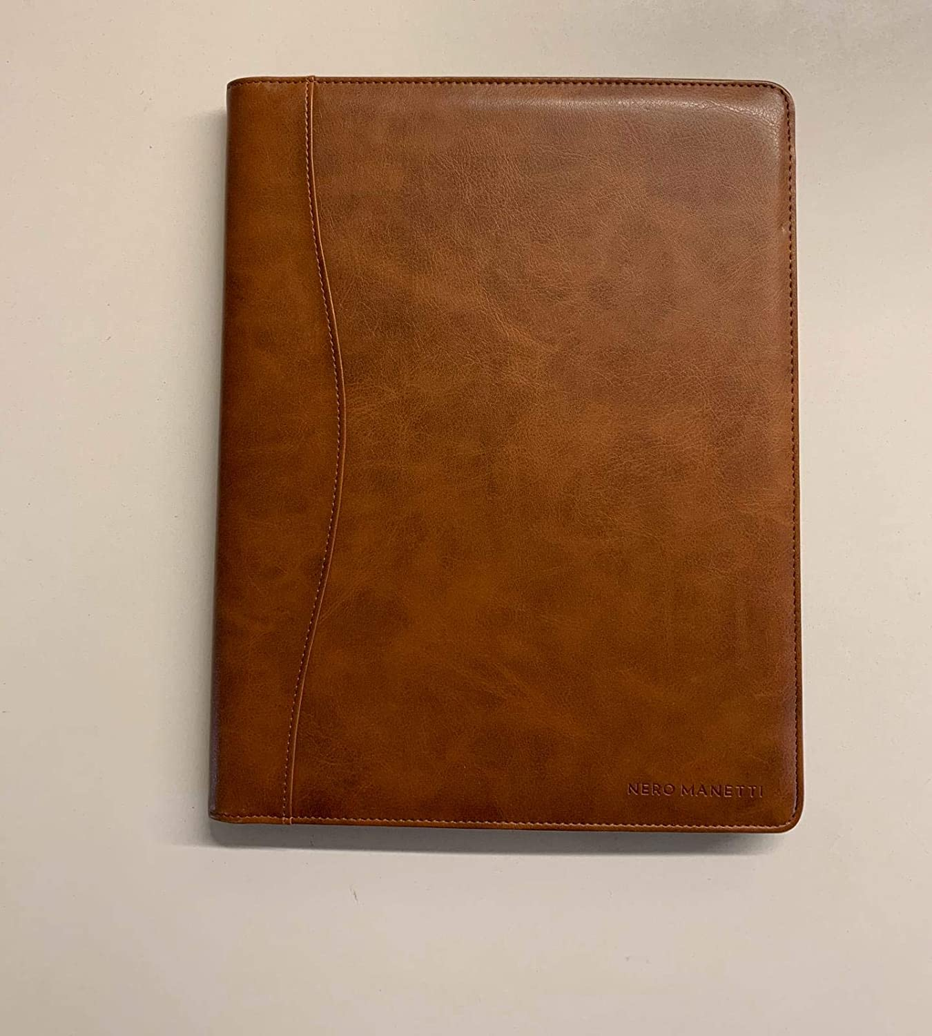 NERO MANETTI- Leather Portfolio Folder - Business PU Leather Portfolio Notepad Holder for Resumes, Legal Pad Portfolio Executive Binder, Professional Padfolio Notebook for Women/Men (Brown)