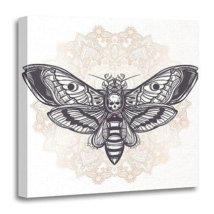 95557e10c Emvency Canvas Wall Art Print Death's Head Hawk Moth with Mandala Geometry  Lines Tattoo Vintage Dark