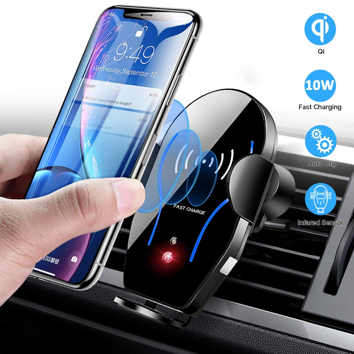 Wireless Car Charger Mount, Mikikin Auto-Clamping Qi 10W 7.5W Fast Charging Car Phone Holder Air Vent Compatible with iPhone X/XR/Xs/Xs Max/8/8 Plus, Samsung S6/S7/S8/S9 Edge+, Note 7/Note 8 & More