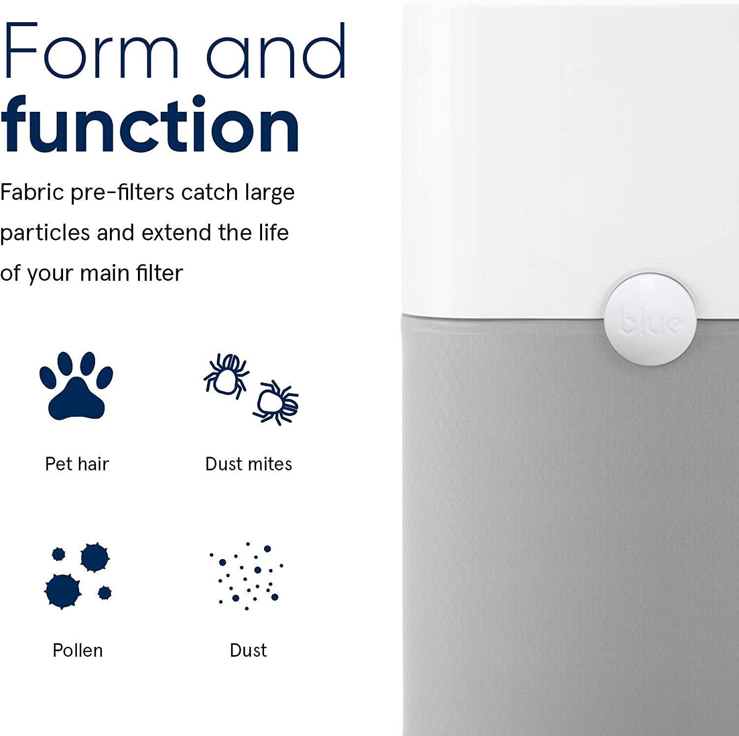 Blueair Pre-Filter for 221 Air Purifier | Lunar Rock | Catches Larger Particles, Extending The Life Of The Main Filter | Machine Washable Lunar Rock