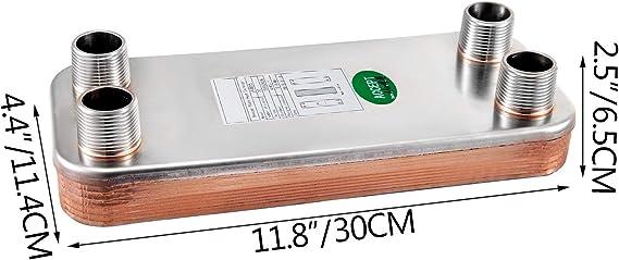 OldFe EATB25 Plattenw/ärmetauscher Edelstahl 20 Plattenw/ärmetauscher 316 W/ärmetauscher Heizung