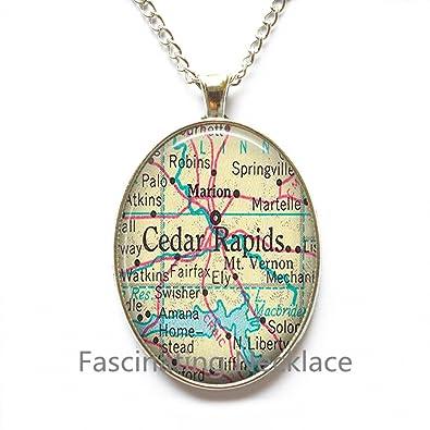 Amazon.com: Charming Necklace, Cedar Rapids, Iowa map Pendant, Cedar on