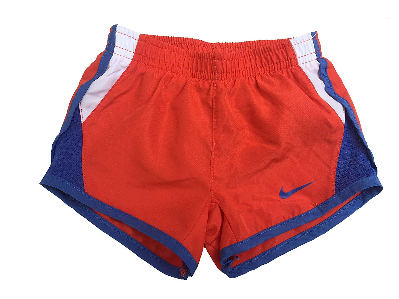 NIKE Girls' Dry Tempo Running Shorts (Max Orange(262139-N22)/White, 2T)