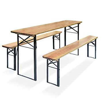 Beer garden table set Oktober, table with 2 benches, dimensions ...