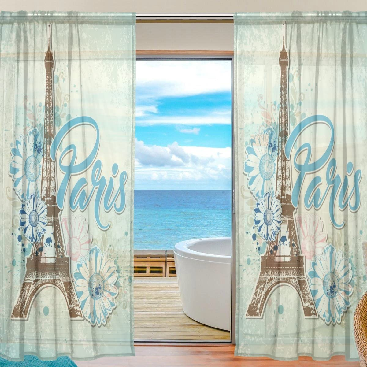 ALAZA Cooper Girl Paris Eiffel Tower Sheer Window Curtain Panel Drape 55×84 Inch for Living Room Bedroom Kids Room 2 Piece