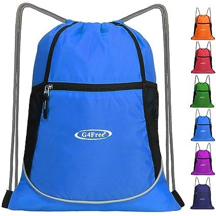 62be69ddc0f G4Free Drawstring Backpack Large Sports Gym String Bag Cinch Sack Gymsack  Sackpack Waterproof (Blue)