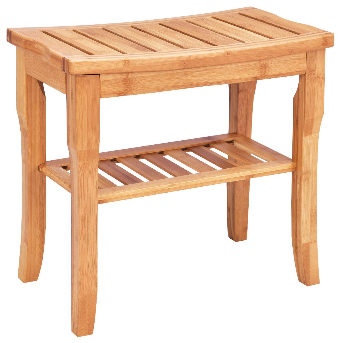 Giantex Bamboo Shower Seat Bench Bathroom Spa Bath Organizer Stool with Storage Shelf