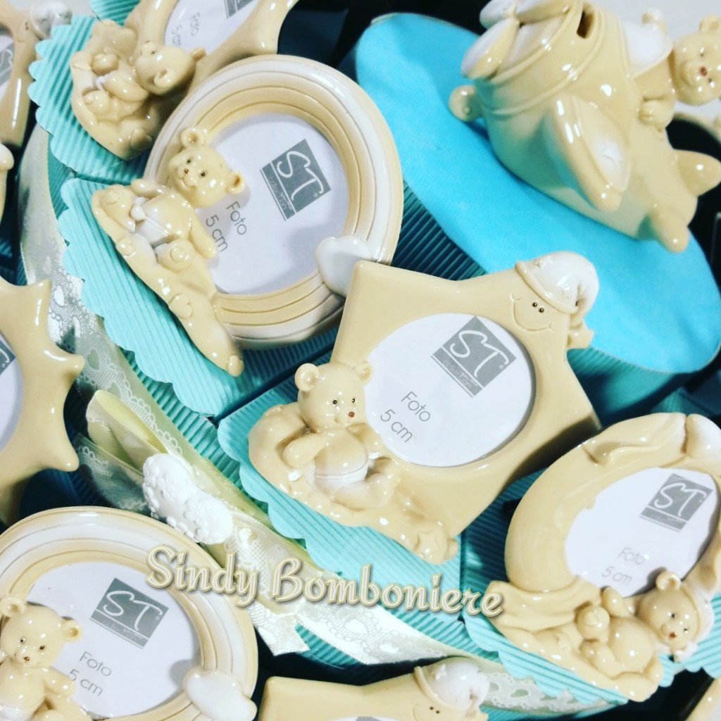 Cornice portafoto per bomboniere battesimo maschietto torta portaconfetti (centrale confezionato) Sindy Bomboniere