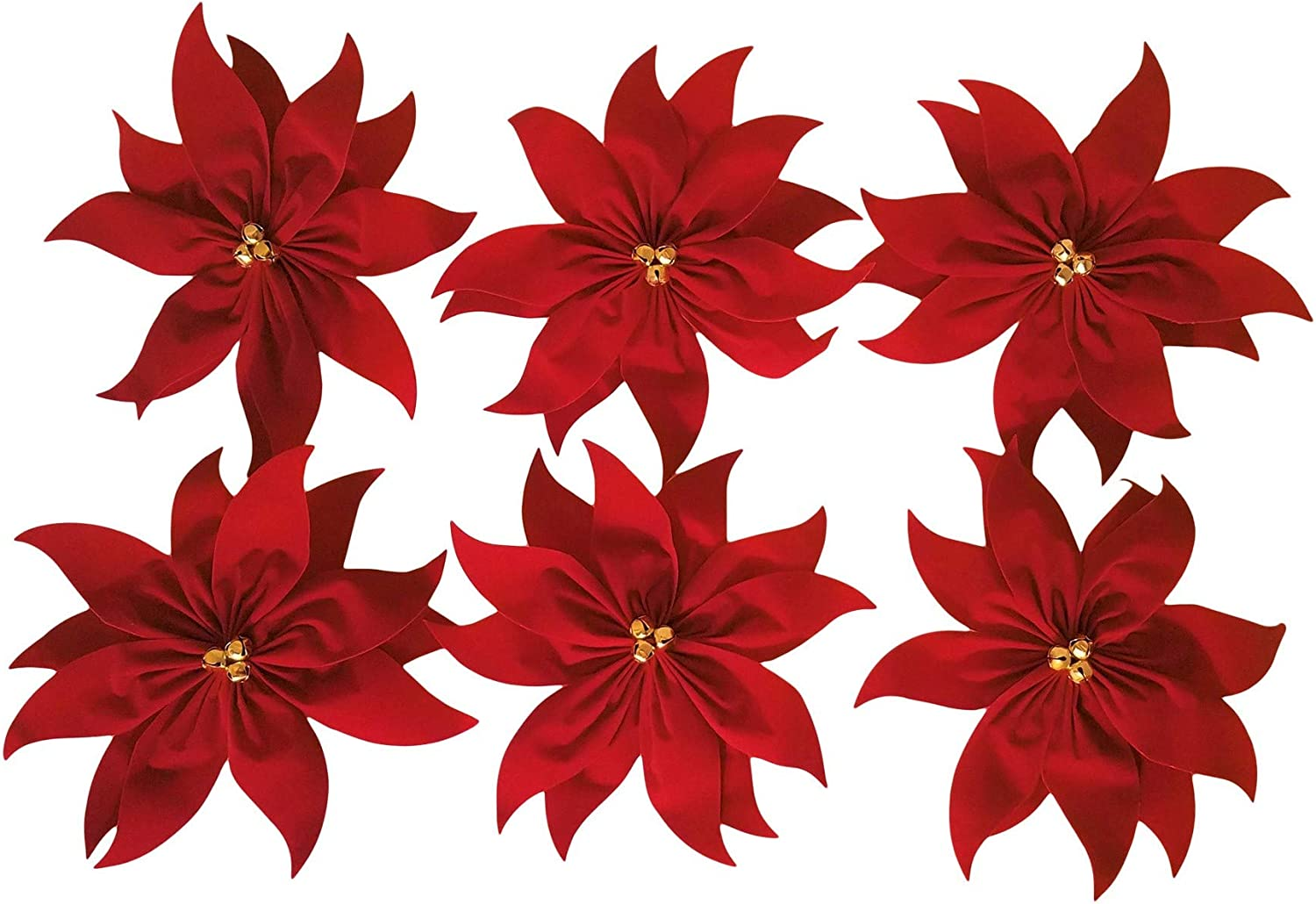 Red Velvet Poinsettia Christmas Bows with Bells - 6 Count Size 9.5 Inches x 9.5 Inches Holiday Ribbons Bows for Decorations