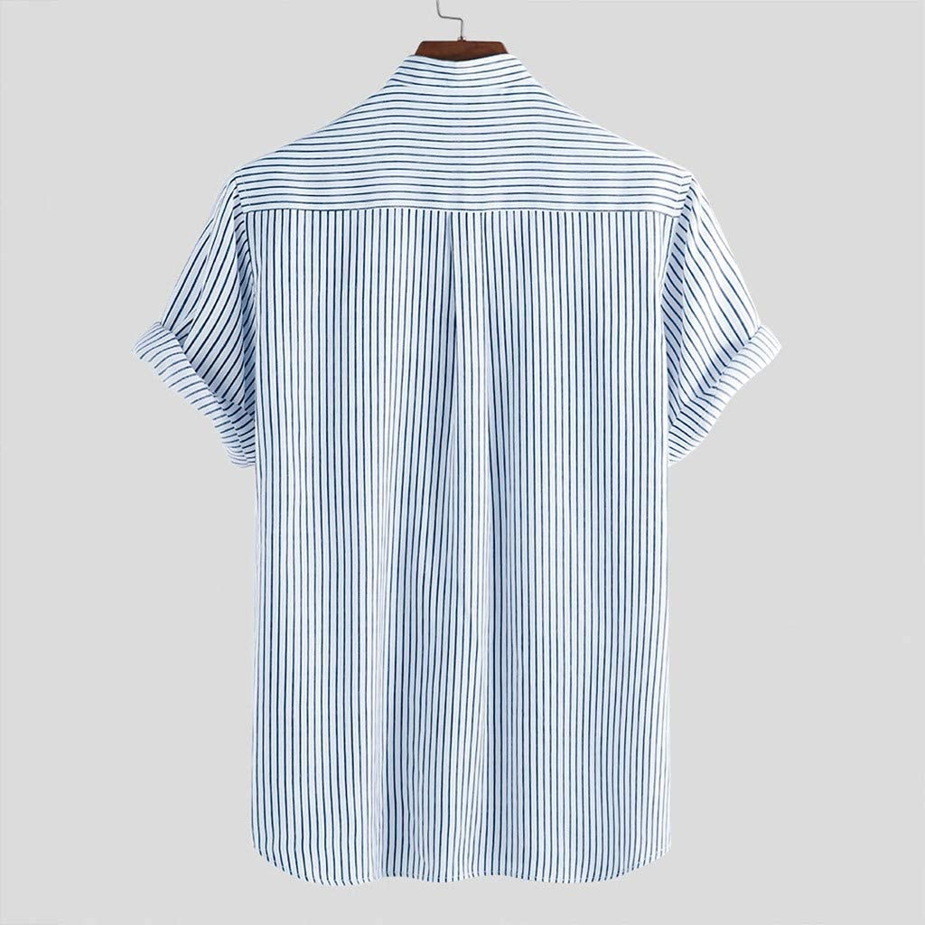 NIUQI Mens Stand Collar Stripe Summer Short Sleeve Loose Buttons Casual Shirt Blouse