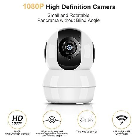 1080P Cámara IP Wifi HD Inalámbrico P2P Hommie, Visión Nocturna, Audio de dos vías, Bebé Monitor, Cámara de Vigilancia Seguridad Casera de 2.4 GHz para ...