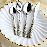 Gobuy Flower Carving Stainless Steel Flatware Set 4 Pieces Classic Royal Dinnerware Gold