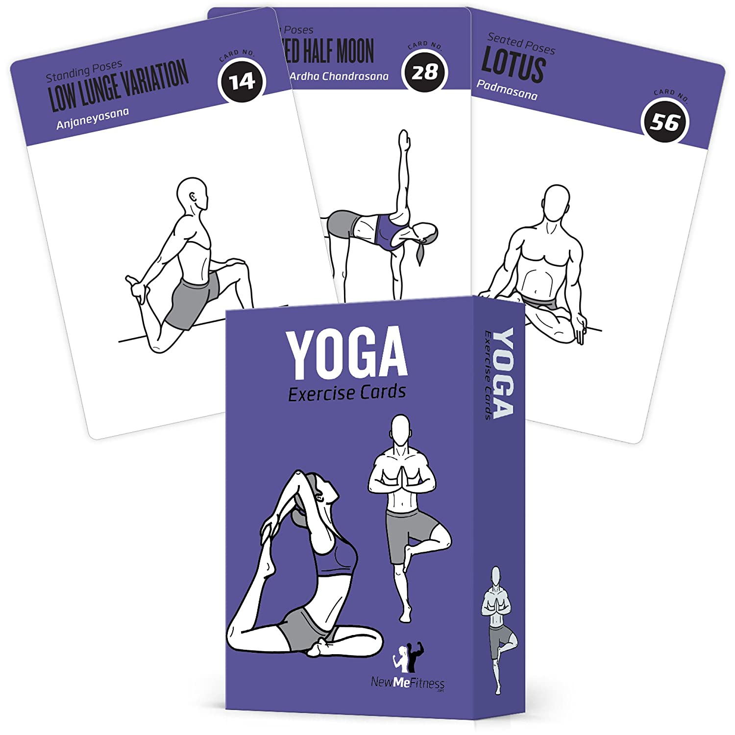 NewMe Fitness Yoga Pose Sequence Exercise Cards - 70 Yoga Poses, 9 Sequences - Sanskrit & English Asana Names - Yoga Sequencing & Flow Practice Guide For Beginner & Intermediates - Durable Plastic