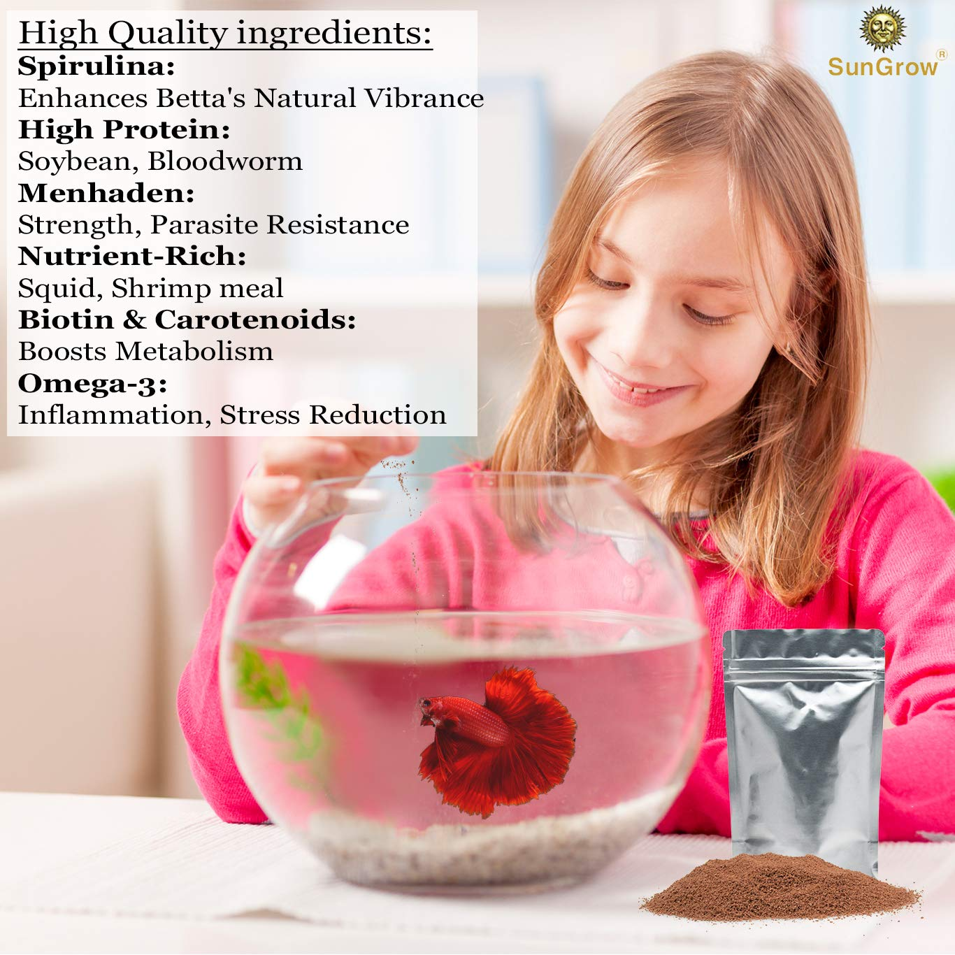 SunGrow Fish Pellets Food -- Health-enhancing fish Pellets - Provides balanced nutrition to marine and freshwater fish - Keeps tank clear, does not cloud water – Improves fish color and appearance