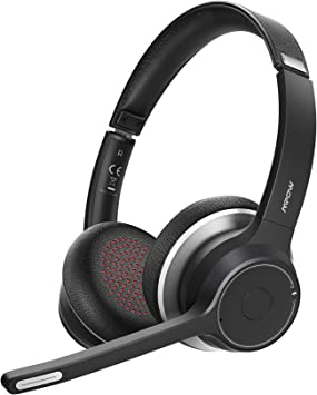 Amazon.com: Mpow HC5 Bluetooth Headset V5.0, Wireless Headphones with Dual  Microphone, CVC8.0 Noise Canceling, 22+Hrs Talk Time, Soft Ear Pad,  Wireless Business Office Headset for Calling, Music (Wired Optional):  Electronics