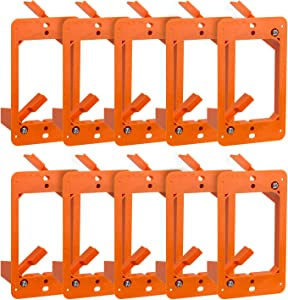 Cmple - Low Voltage Mounting Bracket 1 Gang Multipurpose Drywall Mounting Wall Plate Bracket – (Single Gang, 10 Pack)