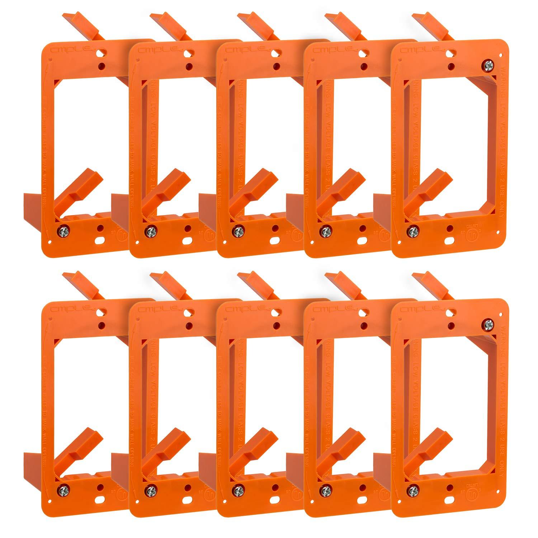 Cmple - Low Voltage Mounting Bracket 1 Gang Multipurpose Drywall Mounting Wall Plate Bracket - (Single Gang, 10 Pack)