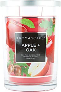 Aromascape 2-Wick Scented Jar Candle, Apple & Oak, 19-Ounce, Red