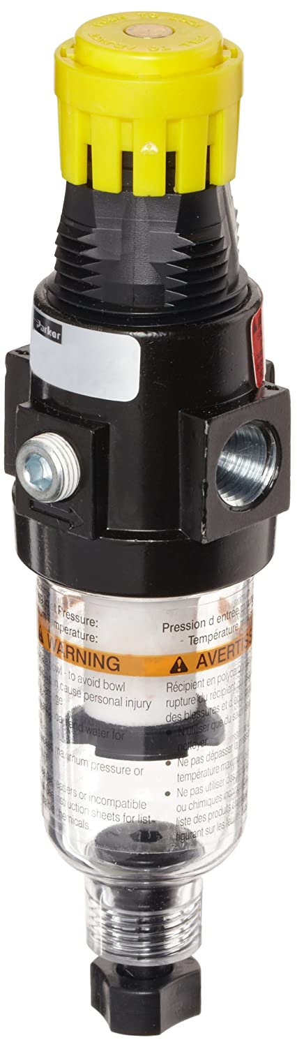 Parker 14E13B13FC One-Unit Combo Compressed Air Filter/Regulator, 1/4 NPT, Metal Bowl, Manual Drain, 5 Micron, 18 scfm, Relieving Type, 2-125 psi Pressure Range, No Gauge by Parker  B007FXRE7M