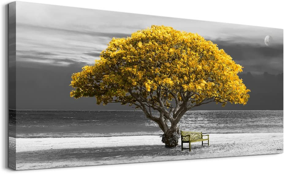 wall art for living room Decorations Photo Prints - panoramic black and white with yellow trees The moon scenery - Modern Home Decor The room Stretched and Framed Ready to Hang artwork 30X60inches