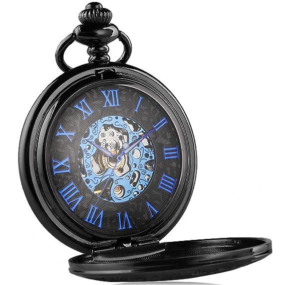 Alienwork Retro Reloj de Bolsillo Mecánico Relojes Hombre Mujer Acero Inoxidable Negro Analógicos Cuerda Manual Unisex Azul Esqueleto Vintage: Amazon.es: ...
