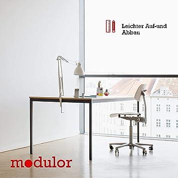 Modulor Tisch M1 mit grauem Tischgestell M und geperlter Tischplatte (1,9 x 80 x 160 cm), Schreibtisch mit Echtholzumleimer, metallic grau und weiß