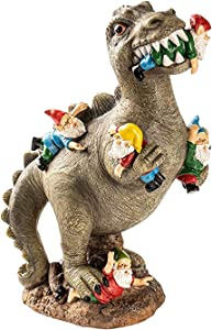 The Invincible Godzilla, Godzilla Fights The Dwarf War! Garden Gnome Statues Dinosaur Eating Gnomes Outdoor Decor, Patio,Lawn ,Yard Art Decoration(M-(23cm Tall))