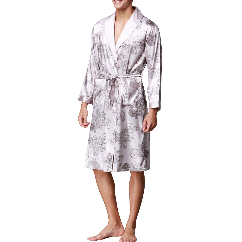Sidiou Group Vestaglia Kimono Uomo Abito Kimono Pigiama Vestaglia Raso Manica Lunga Camicie da Notte Accappatoio Biancheria da Notte Abito da Notte Indumenti da Notte SDO-SY011