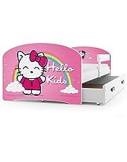 Interbeds Cama Individual LUKI - Blanco,160X80, con cajón, somier y colchón de Espuma Gratis! (Hello Kids)