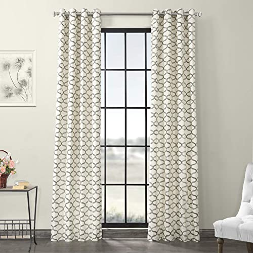 HPD Half Price Drapes PRCT-D02-96-GR Grommet Printed Cotton Curtain 1 Panel