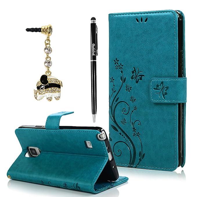 BADALink Hülle für Samsung Galaxy Note 4 Hülle Schutzhülle Bunt PU Leder Flip Wallet Case Brieftasche mit Magnetverschluss Ca