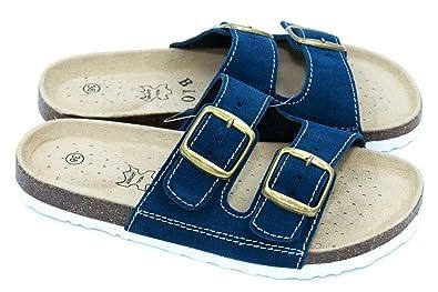 TexBase Damen Pantoletten Bio Leder Kork Pantoffeln Perfekte Hausschuh (37) nyxy5VC6Dw