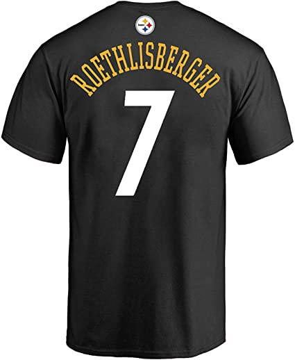 Outerstuff Ben Roethlisberger Pittsburgh Steelers #7 Black Youth Performance Name /& Number Shirt Medium 10//12